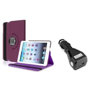 Insten Purple 360 Degree Leather Case Stand for iPad Mini 3 1 2+Car Charger