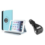 Insten Light Blue 360 Degree Leather Case Stand for iPad Mini 3 1 2+Car Charger