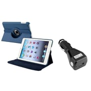 Insten Navy Blue 360 Degree Leather Case Stand for iPad Mini 3 1 2+Car Charger