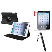 Insten 360 Black Leather Case Cover+Matte Protector/Stylus for iPad Mini 3 2 1