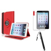 Insten Red Rotating PU Leather Case Stand+Anti Glare Protector+Stylus For iPad Mini 1st 2nd 3rd