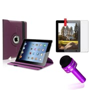 Insten 360 Rotating PU Leather Case For The iPad 4 4G Gen 3 3rd 2 Purple