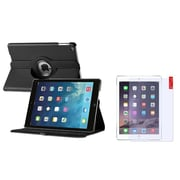 Insten 360 Black Rotating PU Leather Case Cover+Matte Protector For Apple iPad Air 5 5th Gen