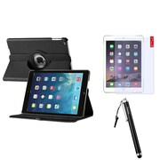 Insten 360 Black Rotating Leather Case Cover+AG Protector/Stylus For Apple iPad Air 5 5th Gen