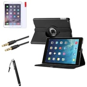 Insten 360 Black Rotate Leather Case Cover+Matte Protector+Cable For Apple iPad Air 5 5th Gen