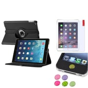 Insten 360 Black PU Leather Case Cover+Matte Protector/Sticker For Apple iPad Air 5 5th Gen