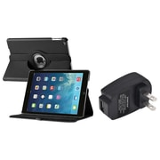 Insten 360 Black Rotating Stand Leather Case Cover+Charger For Apple iPad Air 5 5th Gen