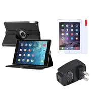 Insten 360 Black Leather Stand Case Cover+Guard+AC Charger For Apple iPad Air 5 5th Gen