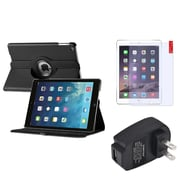 Insten 360 Black Rotating Leather Case Cover+Protector+Charger For Apple iPad Air 5 5th Gen