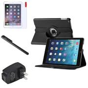 Insten 360 Black Leather Case Cover+Matte Protector/Stylus/Wall For Apple iPad Air 5 5th Gen