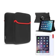 Insten 360 Black Rotating PU Leather Case Cover+Protector+Pouch For Apple iPad Air 5 5th Gen