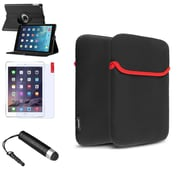 Insten 360 Black Rotating Leather Case Cover+Stylus/Pouch For Apple iPad Air 5 5th Gen