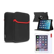 Insten 360 Black Rotating Stand Leather Case Cover+Matte Protector For Apple iPad Air 5 5th