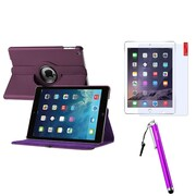 Insten Purple 360 Rotating Leather Case Cover+LCD Protector+Pen For Apple iPad Air 5 5th Gen