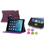Insten Purple 360 PU Leather Stand Case Cover+Home Sticker For Apple iPad Air 5 5th Gen