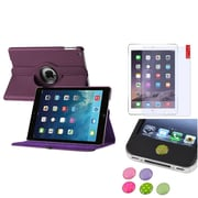 Insten Purple 360 Degree Leather Case Cover+AG Protector/Sticker For Apple iPad Air 5 5th Gen
