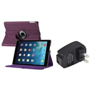 Insten Purple 360 Rotate Leather Case Cover+Travel Charger For Apple iPad Air 5 5th Gen