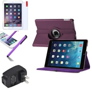 Insten Purple 360 Rotating PU Leather Case Cover+Guard Pen For Apple iPad Air 5 5th Gen