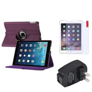 Insten Purple 360 Rotating PU Leather Case Cover+Protector+Charger For Apple iPad Air 5 5th