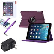 Insten Purple 360 Leather Case Cover+Matte Protector/Stylus/Wall For Apple iPad Air 5 5th Gen