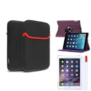 Insten Purple 360 Rotating Leather Case Cover+Guard+Pouch For Apple iPad Air 5 5th Gen