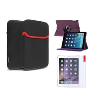 Insten Purple 360 Rotating Leather Case Cover+Matte Protector/Sleeve For Apple iPad Air 5 5th