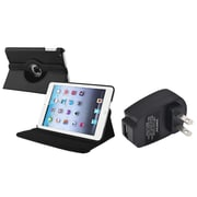 Insten 360 Black Leather Case Cover+Travel Charger For iPad Mini 3 2 1