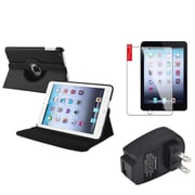 Insten 360 Black Leather Case Cover+Protector+AC Charger for iPad Mini 3 2 1