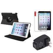 Insten 360 Black Leather Case Cover+Protector+Wall Charger for iPad Mini 3 2 1