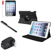 Insten 360 Black Leather Case Cover+Matte Protector/Stylus/for iPad Mini 3 2 1