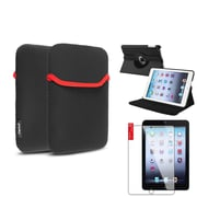 Insten 360 Black Leather Case Cover+LCD Protector+Pouch for iPad Mini 3 2 1