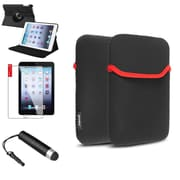 Insten 360 Black Rotate Leather Case Cover+Pen/Pouch for iPad Mini 3 2 1
