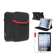 Insten 360 Black Leather Case Cover+Matte Protector/Sleeve for iPad Mini 3 2 1