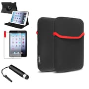 Insten 360 Black Leather Case Cover+Mini Stylus/Protector For iPad Mini 3 2 1