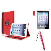 Insten Red 360 PU Leather Case Cover+Matte Screen Protector/For Apple iPad Mini 1st 2nd 3rd
