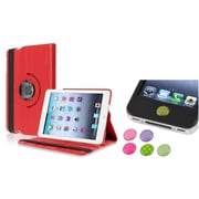 Insten Red 360 Leather Case Cover+3.5mm/Home Sticker for iPad Mini 3 2 1