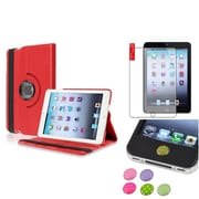 Insten Red 360 Leather Case Cover+Matte SP/Sticker for iPad Mini 3 2 1