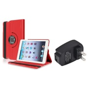 Insten Red 360 Leather Case Cover+Travel Charger for iPad Mini 3 2 1