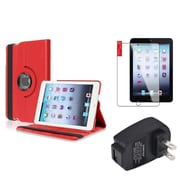 Insten Red 360 Leather Case Cover+Protector+AC Charger for iPad Mini 3 2 1