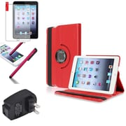 Insten Red 360 Leather Case Cover+Matte Protector/Stylus/for iPad Mini 3 2 1