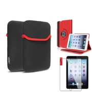 Insten Red 360 Leather Case Cover+LCD Guard+Pouch for iPad Mini 3 2 1