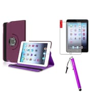 Insten Purple 360 Leather Case Cover+Anti Glare Protector+Stylus for Apple iPad Mini 3 2 1