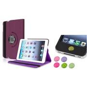 Insten Purple 360 Leather Case Cover+Home Sticker for iPad Mini 3 2 1