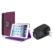 Insten Purple 360 Leather Case Cover+Travel Charger for iPad Mini 3 2 1