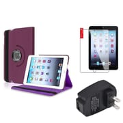 Insten Purple 360 Leather Case Cover+Protector+AC Charger for iPad Mini 3 2 1