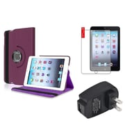 Insten Purple 360 Leather Case Cover+Protector+Charger for iPad Mini 3 2 1