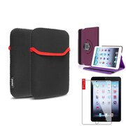 Insten Purple Rotating Stand Leather Case Cover+LCD Protector+Sleeve Pouch for iPad Mini 3 2 1