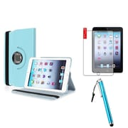 Insten Light Blue 360 Leather Case Cover+Matte Guard for iPad Mini 3 2 1