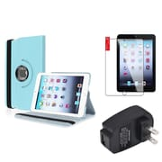 Insten Light Blue 360 Leather Case Cover+SP+Charger for iPad Mini 3 2 1