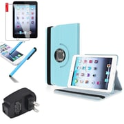 Insten Light Blue 360 PU Leather Case Cover+Protector Pen for iPad Mini 3 2 1